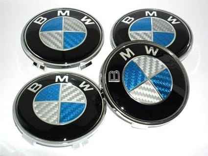 BMW - Tapacubos con logotipo de BMW (fibra de carbono, 4 unidades, 68