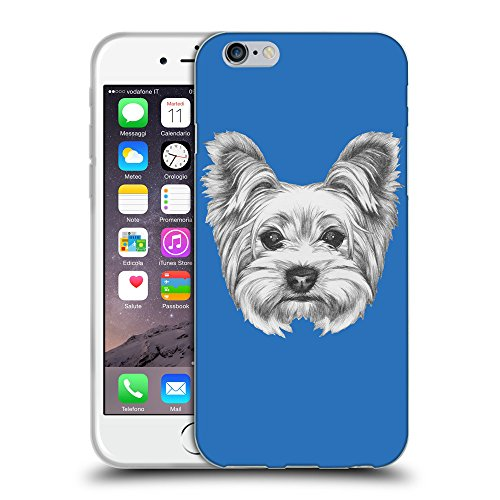"GoGoMobile Coque de Protection TPU Silicone Case pour // Q05120608 Chien dessin Azur // Apple iPhone 6 4.7"""