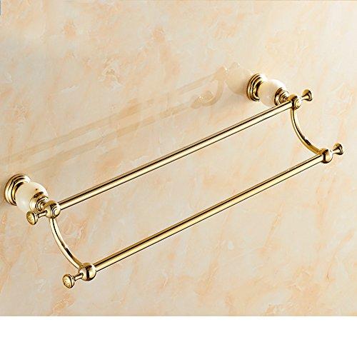 outlet Brass double bar Towel rack/Golden Towel rack/Bathroom Accessories/blue and white porcelain Towel Bar/Towel hanger-C