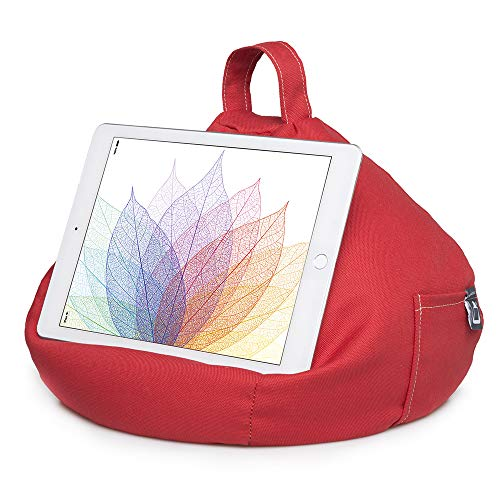 iPad Pillow & Tablet Stand - Securely Holds Any Size Tablet, eReader or Book Upto 12.9 inches, Hands Free Comfort at Any Angle on Any Surface - Red, by iBeani