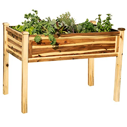Thirteen Chefs Villa Acacia Raised Garden Bed, Solid Wood with Removable Liner, 48 x 24 Inch, 30 Inches Tall, 42L x 24W x 30H
