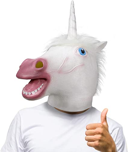 SHINE M/áscara del Unicornio Traje del Cabeza de Animal