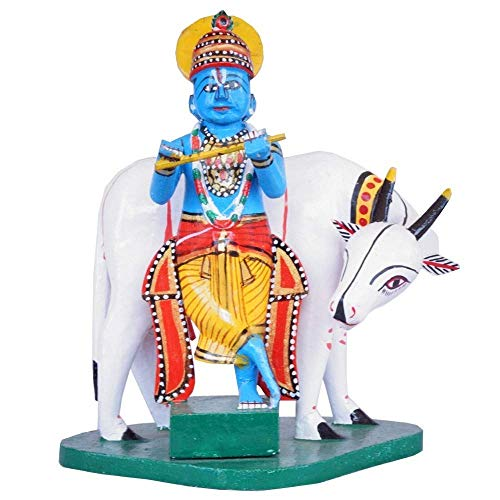 True Facility Hand Crafted – Kondapalli Toys – Lord Krishna with Cow – Size 16 x 10 x 18 Cms.
