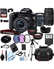 $899 » Canon EOS 250D (Rebel SL3) DSLR Camera with 18-55mm f/4-5.6 is STM + EF 75-300mm f/4-5.6 III Zoom Lenses + 64GB Card, Tripod, Case, and More (25pc Bundle)