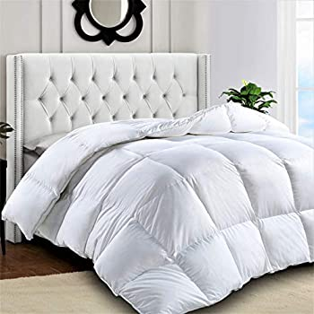 Lux Décor Premium Quality Heavy Quilted Comforter - Duvet Insert - Stand Alone Comforter - with Corner Tabs -Hypoallergenic -Plush Microfiber Fill - Machine Washable - (King Size, White)