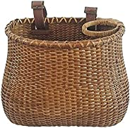 Hand-Woven Bicycle Basket, Retro Hand-Woven Wicker Bicycle Storage Basket, Waterproof Bike Basket Front Handle