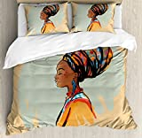 Ambesonne African Woman Duvet Cover Set King Size, Watercolor Profile Portrait of Native Woman with Ethnic Hairdo and Earrings, Decorative 3 Piece Bedding Set with 2 Pillow Shams, Multicolor
