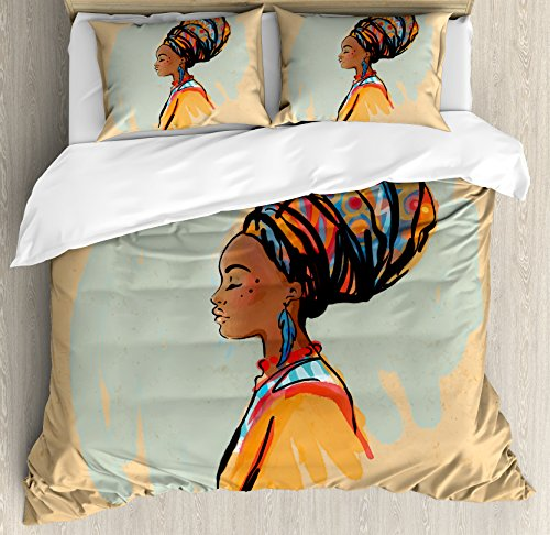 Ambesonne African Woman Duvet Cover Set Queen Size, Watercolor Profile Portrait of Native Woman with Ethnic Hairdo and Earrings, Decorative 3 Piece Bedding Set with 2 Pillow Shams, Multicolor