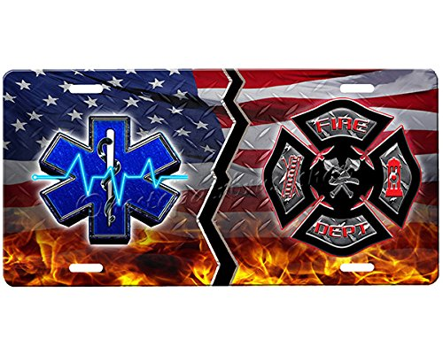 Emt License Plates (Firefighter/EMT House Divided License Plate)