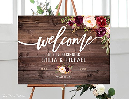 Wood Plaque Welcome to Our Beginning Sign Rustic Welcome Wedding Sign Welcome To Our Wedding Sign Horizontal Landscape Printable Burgundy 18