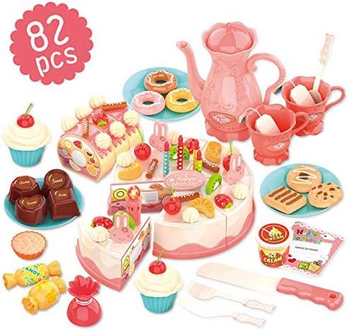 REMOKING Elektrisches Kuchen Küchenspielzeug für Kinder, DIY 82 PCS geschnittenes Geburtstagskuchen-Spielzeug mit Obst Dessertteller, Teetasse und Aufklebern, Geschenk für Jungen und Mädchen