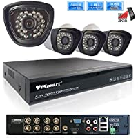 iSmart 8 Channel 720P HDMI AHD DVR 3 in 1 Security System including 4 1200TVL 1.0MP Waterproof Bullet Surveillance Camera