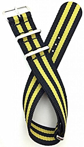 22mm NATO style, Nylon Fabric Watch Strap - Black/Gold