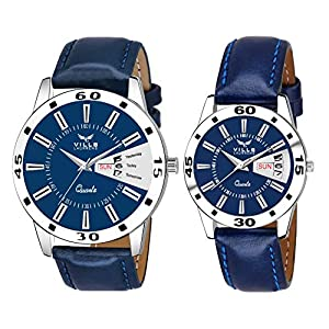 Vills Laurrens Day and Date Analogue Blue Dial Couple Watch for Men and Women – Pack of 2