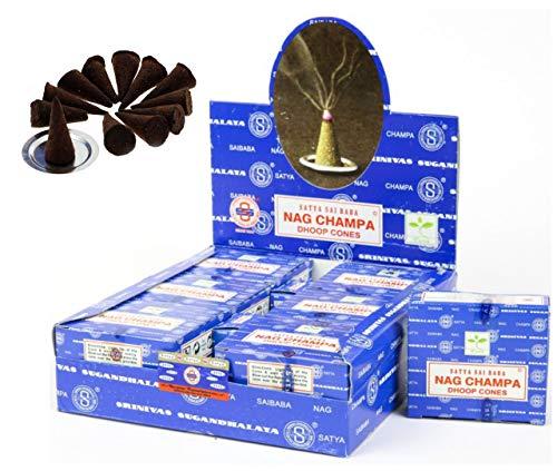 (Craftozone Satya Sai Baba Nag Champa Agarbatti Pack of 12 Fine Quality Incense (Cones(144pcs)))