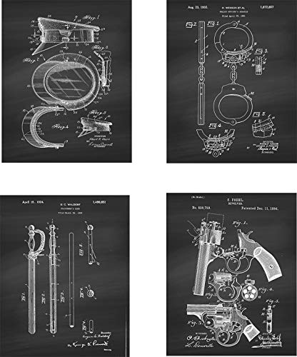 Police Patent Wall Art Prints - set of Four (8x10) Unframed - wall art decor for police officers