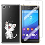 Sony Xperia M5 Case with 2 Pack Glass Screen Protector Phone Case for Men Women Girls Clear Soft TPU with Protective Bumper Cover Case for Sony Xperia M5-Cat