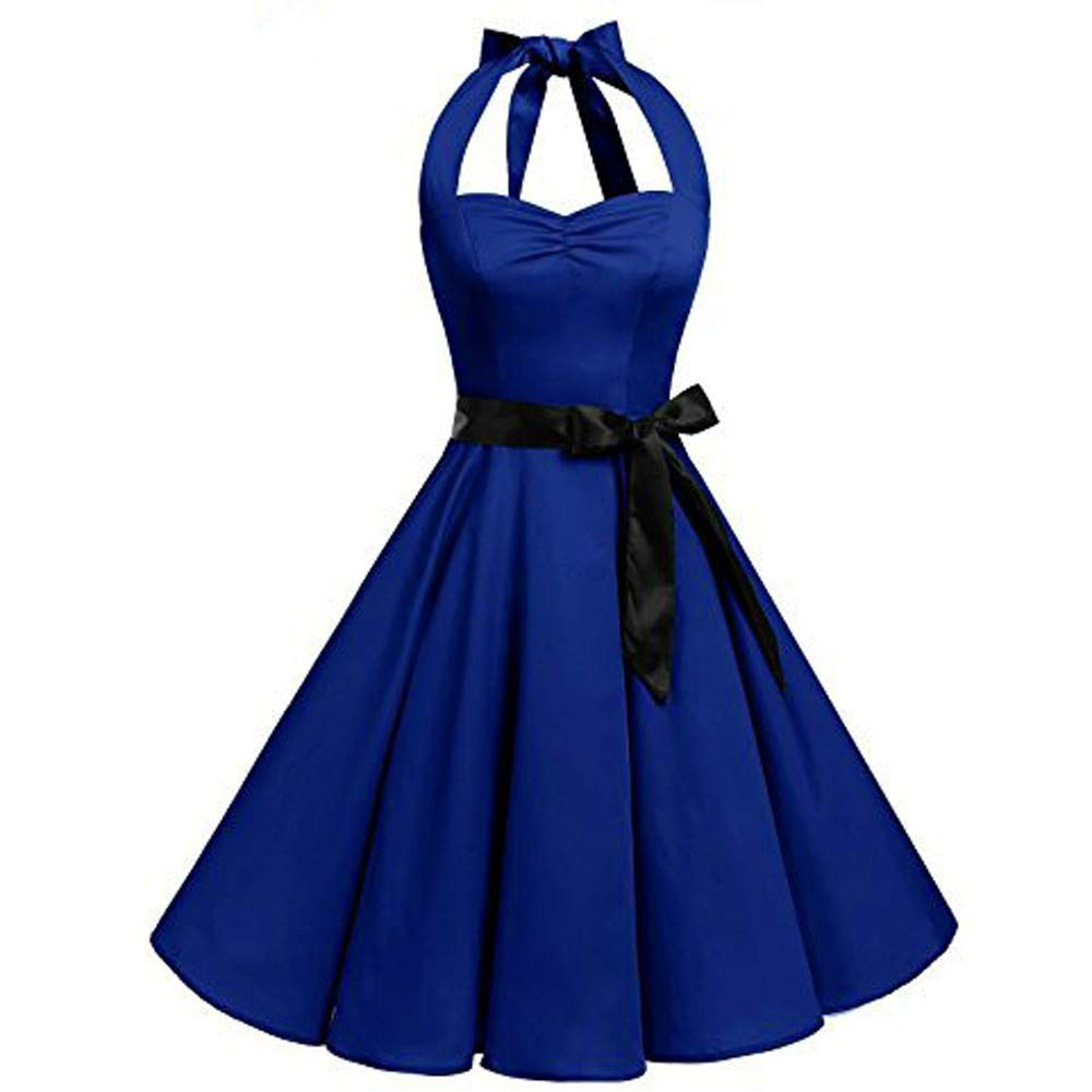 Nevera Women's Vintage 1950s Halter Cocktail Solid Party Cocktail Swing Dress with Bandage Blue