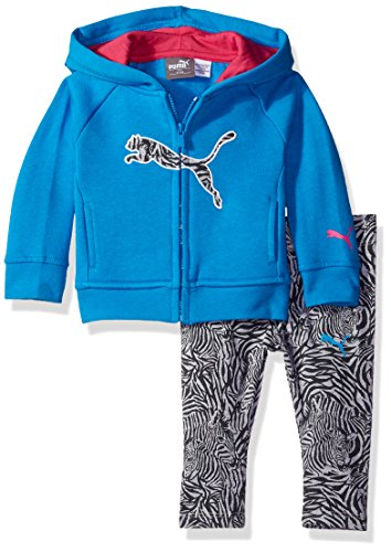 PUMA Baby Girls 2 Piece Floral Print Long Sleeve Tee and Legging Set, Skate Blue, 12M Puma Girls Jacket