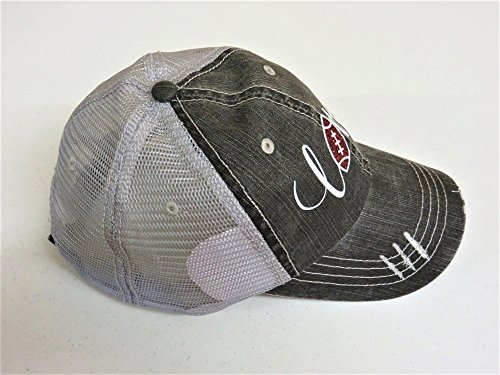 White/Brown Glitter Football Love Distressed Look Grey Trucker Cap Hat Sports by Spirit Caps (Image #1)