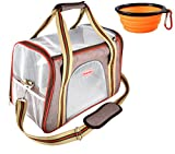 Rolscaler Soft Sided Carriers Pet Portable Bag With Food Water Feeding Portable Travel Bowl,Zippers Safety Clasp & Fleece Bedding,Perfect for Little Dog/Cat Airline Approved (COLOR - 1)
