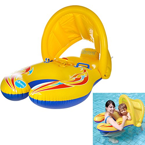 LAMASTON Baby Pool Float with Canopy Parent-child Inflatable Swimming Floats for Kids, Baby Swimming Ring Pool Toys for Toddlers (Style B) (Phoenix Suns Pool)