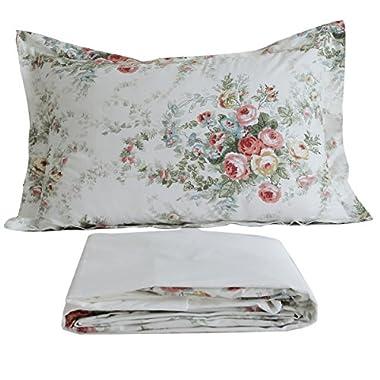 FADFAY Vintage Rose Floral Bed Sheet Set Cotton Bedsheet Twin Size