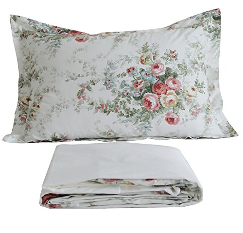 FADFAY Vintage Rose Floral Bed Sheet Set Cotton Bedsheet King Size (Sheet Vintage Flat)