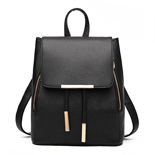 Backpacks,Sunroyal Women Girls Leather Schoolbags Travel Casual Shoulder Bag Mochila-Black by Sunroyal (Image #5)