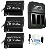 3-Pack AHDBT-401 High-Capacity Replacement Batteries with Rapid 3-Channel Charger for GoPro Hero4. UltraPro Bundle Includes: Camera Cleaning Kit - Screen Protector - Mini Travel Tripod