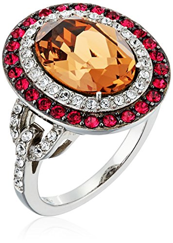Platinum-Plated Swarovski Crystal Light Smoked Topaz  Oval-Cut Double Halo with Ruby and Clear Ring, Size 7 -