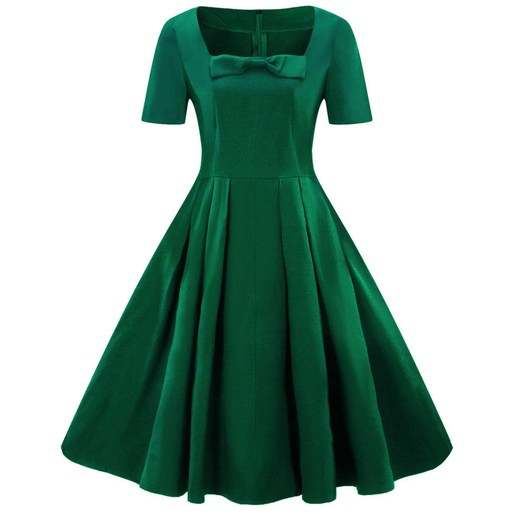 Women's Dress, Woaills Plus Size Swing Skirt Short Sleeve Vintage Dress Solid Bow Retro Flare Dress(Green,XL)