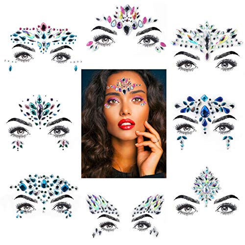 Eurobuy 8 Sets Mermaid Face Gems Glitter,Rhinestone Rave Festival Face,Jewels Gems Chest Sticker,Eyes Face Body Stickers,Bindi Crystal Rhinestone Face Tattoos for Face/Body Decorations (Pattern Set 1)