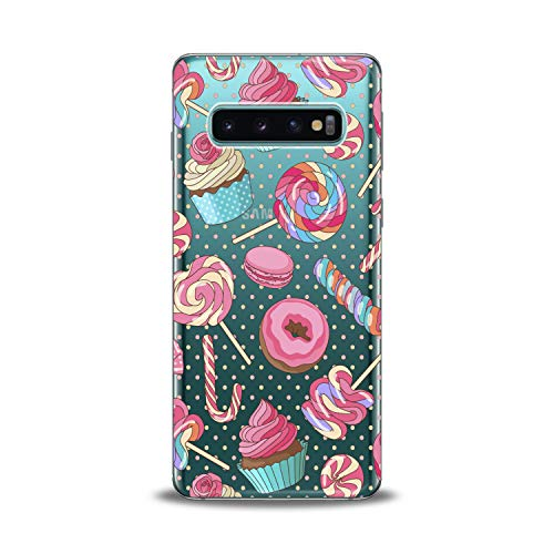 Lex Altern TPU Case for Samsung Galaxy s10 5G Plus 10e Note 9 s9 s8 s7 Cute Clear Colorful Macaron Silicone Cookies Sweet Cover Kawaii Print Lady Protective Flexible Pattern Girls Women Kids Present