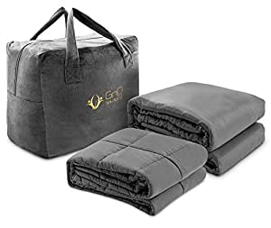 GnO Weighted Blanket Adults King Size Comforter 25 Lbs. - 80 X 87 Inches - Aids Sleep And Anxiety . For All Seasons. Highest Quality. Comes with Finest 100% Bamboo Duvet Cover and Plush Bag.