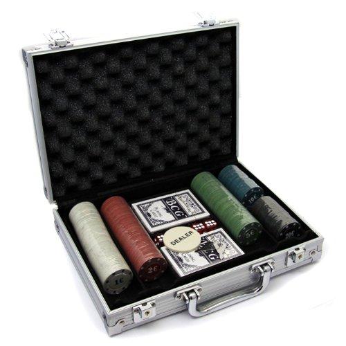Pokerkoffer mit 200 (4g) Pokerchips, Pokerset mit Standard Poker Chips Euro (200 Chips)