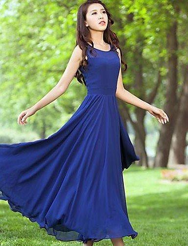 PU&PU Robe Aux femmes Swing Décontracté , Couleur Pleine Col Arrondi Maxi Mousseline de soie , blue-s , blue-s