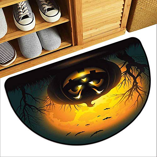 DILITECK Washable Doormat Halloween Fierce Character Evil Face Ominous Aggressive Pumpkin Full Moon Bats Hard and wear Resistant W30 xL18 Orange Dark Brown -