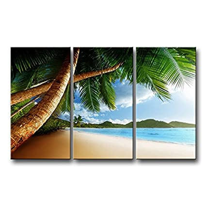Amazon.com: 3 Piece Wall Art Painting Beach Caribbean With Palm Tree ...