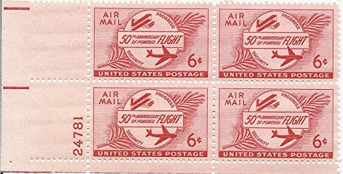 1953 Air Mail Postage Stamp 6 Cent 50th Anniversary Of Powered Flight Plate Block MNH Scott #C47 Airmail Plate Block