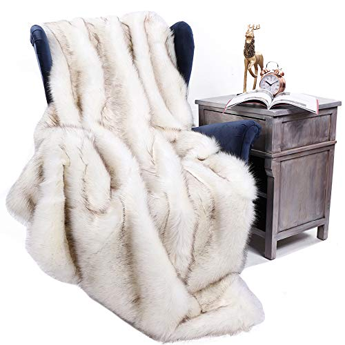 Battilo Luxury Fox Faux Fur Warm Elegant Cozy Throw Decorative Blanket Bed Sofa Blanket, 51