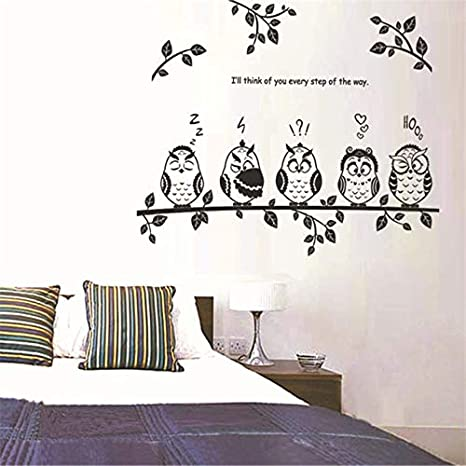 Window Room Art Decal PVC Branch Owl Pattern Wall Sticker 60 x 45cm