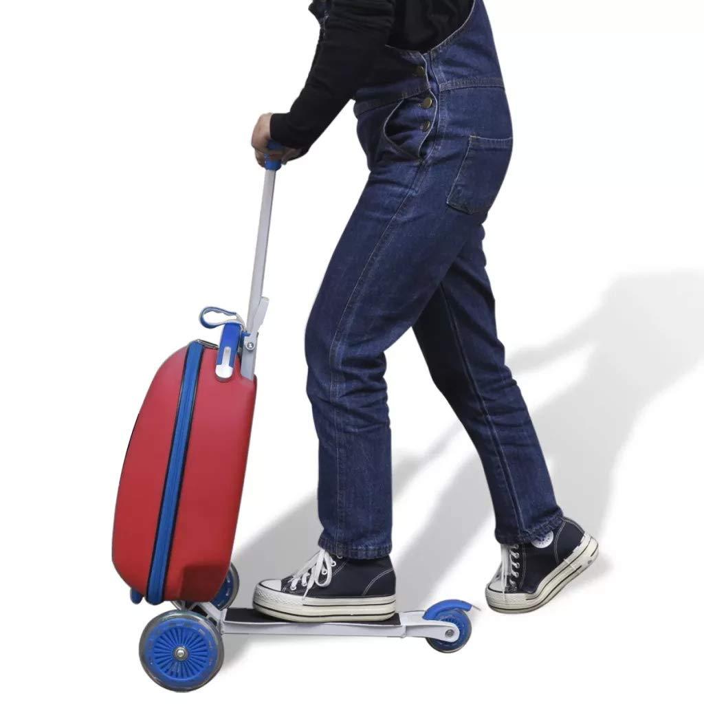 SOULONG Trottinette 3 Roues avec Frein et Valise Trolley pour Enfants Ext/érieur Voyage Rouge Charge 50kg