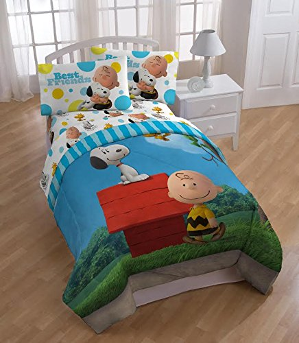 The Peanuts Movie Snoopy Charlie Brown Best Friends Reversible Comforter and Sheet Set 4 Piece Twin Size 100% Polyester Microfiber by Peanuts