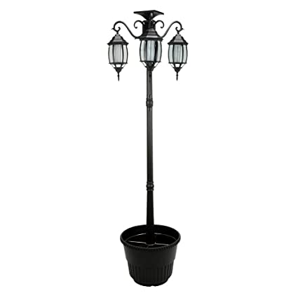 Attrayant 6.7 Ft (80 In) Tall Solar Lamp Post And Planter 3 Heads   Black