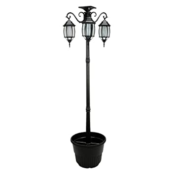 Amazon 67 ft 80 in tall solar lamp post and planter 3 67 ft 80 in tall solar lamp post and planter 3 heads black aloadofball Image collections