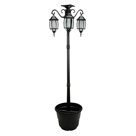 Amazon.com : 6.7 ft (80 in) Tall Solar Lamp Post and Planter 3 ...