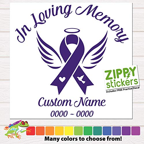 Custom Cancer In Loving Memory Of Decal - Memorial Angel Ribbon Vinyl Decal Sticker - Cancer Ribbon Decal Angel In Memory of personalized for smooth hard surface, Color Size Name Date