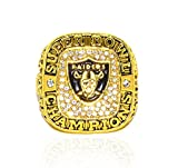 OAKLAND RAIDERS (3X Champs) 1976, 1980, 1983 SUPER BOWL WORLD CHAMPIONS (Vintage) Rare & Collectible High-Quality Replica NFL Football Gold Championship Ring with Cherrywood Display Box