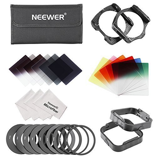 Neewer® Komplett Quadrat Filterset Kompatibel mit Cokin P Serie -beinhaltet: Voll ND2 ND4 ND 8 Filter, abgestufter ND2, ND4, ND8 Filter, abgestufter Blau / Rot / Gelb / Rosa / Grün / Orange Filter + 49/52/55/58 / 62/67/72/77 / 82MM-Ring-Adapter (9 Stück) + 2 STK Filterhalter + 2 STK Lichtblende 3 Reinigungstuch (Grau)